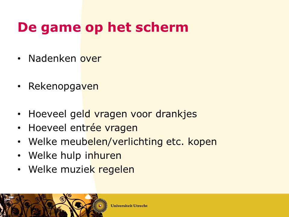 De game op het scherm Nadenken over Rekenopgaven