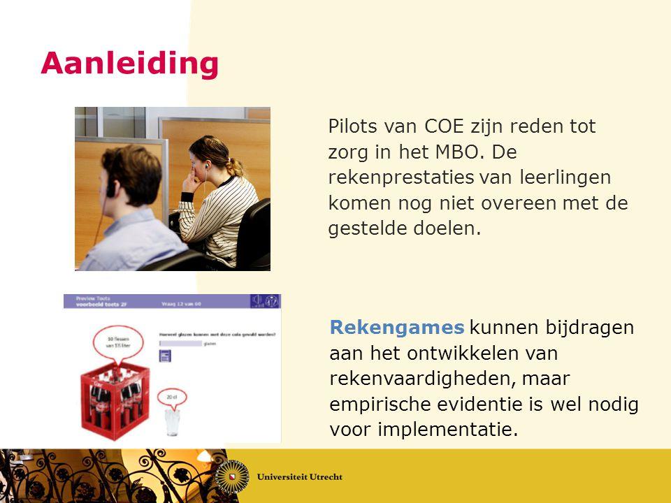 Aanleiding Pilots van COE zijn reden tot zorg in het MBO. De rekenprestaties van leerlingen komen nog niet overeen met de gestelde doelen.