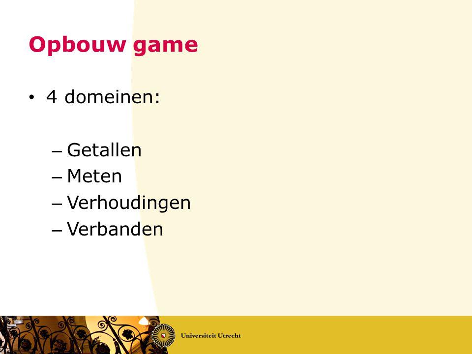 Opbouw game 4 domeinen: Getallen Meten Verhoudingen Verbanden