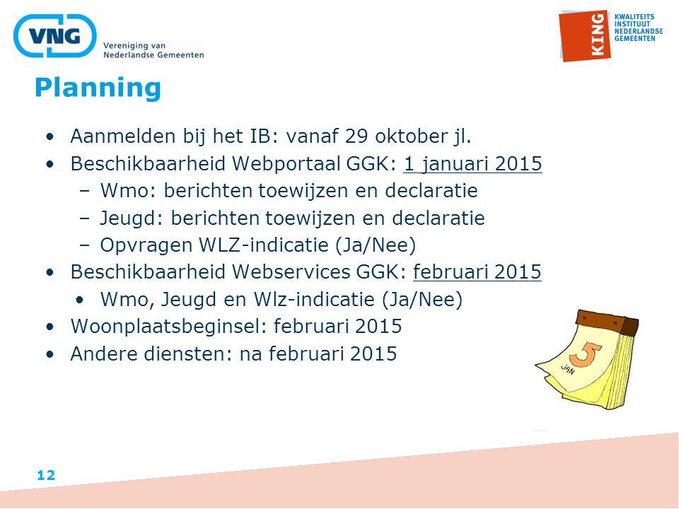 Planning Aanmelden bij het IB: vanaf 29 oktober jl.