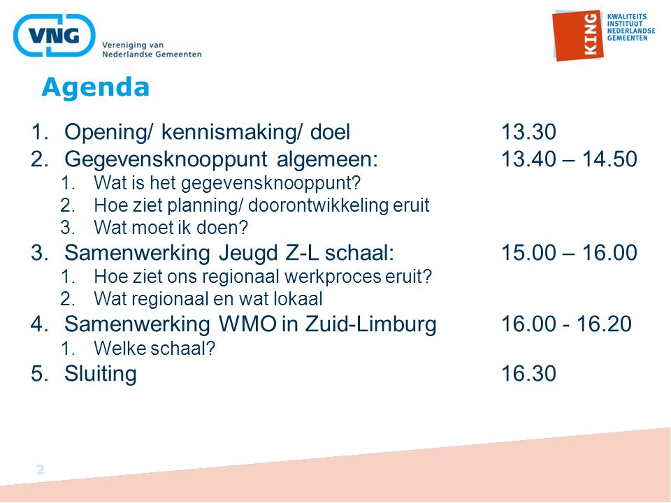 Agenda Opening/ kennismaking/ doel 13.30