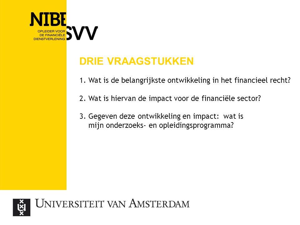drie vraagstukken 1. Wat is de belangrijkste ontwikkeling in het financieel recht 2. Wat is hiervan de impact voor de financiële sector