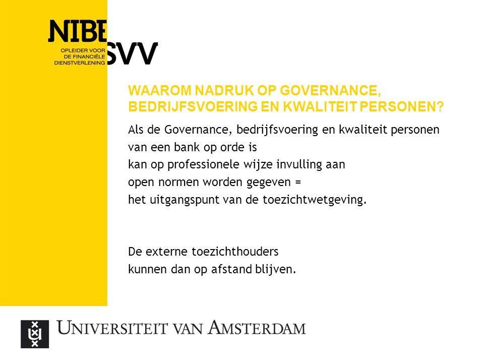 Waarom nadruk op Governance, bedrijfsvoering en kwaliteit personen