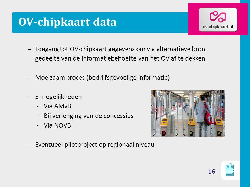 OV-chipkaart data Toegang tot OV-chipkaart gegevens om via alternatieve bron gedeelte van de informatiebehoefte van het OV af te dekken.