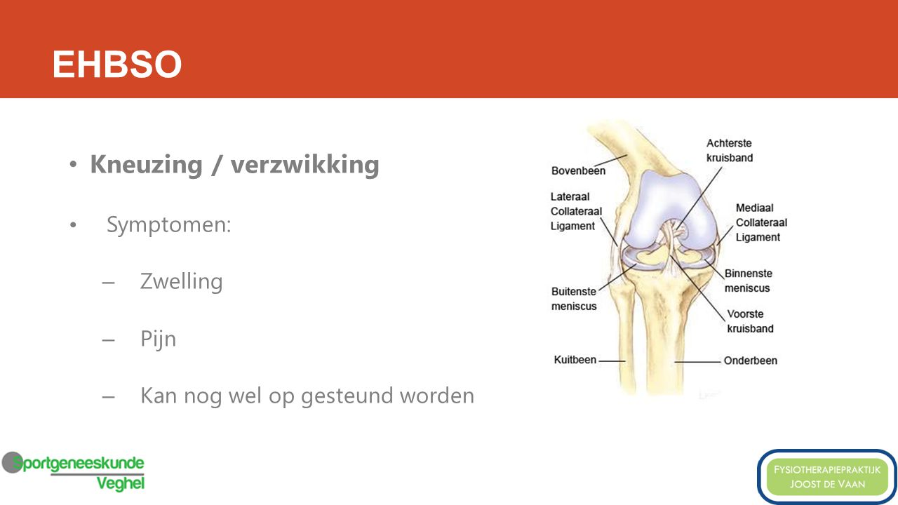 EHBSO Kneuzing / verzwikking Symptomen: Zwelling Pijn