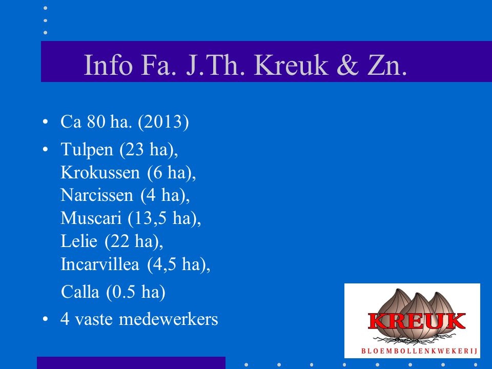 Info Fa. J.Th. Kreuk & Zn. Ca 80 ha. (2013)