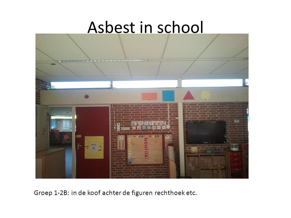 Asbest in school Groep 1-2B: in de koof achter de figuren rechthoek etc.