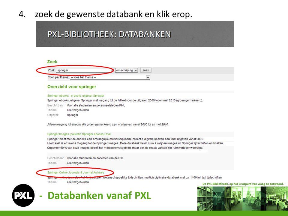 zoek de gewenste databank en klik erop.