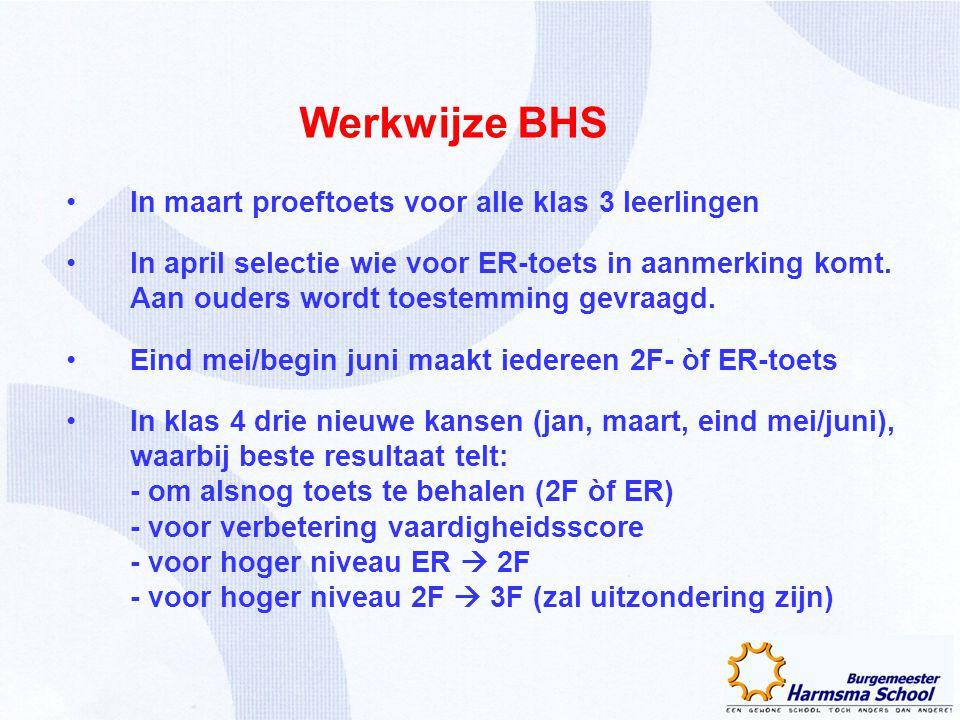 Werkwijze BHS In maart proeftoets voor alle klas 3 leerlingen