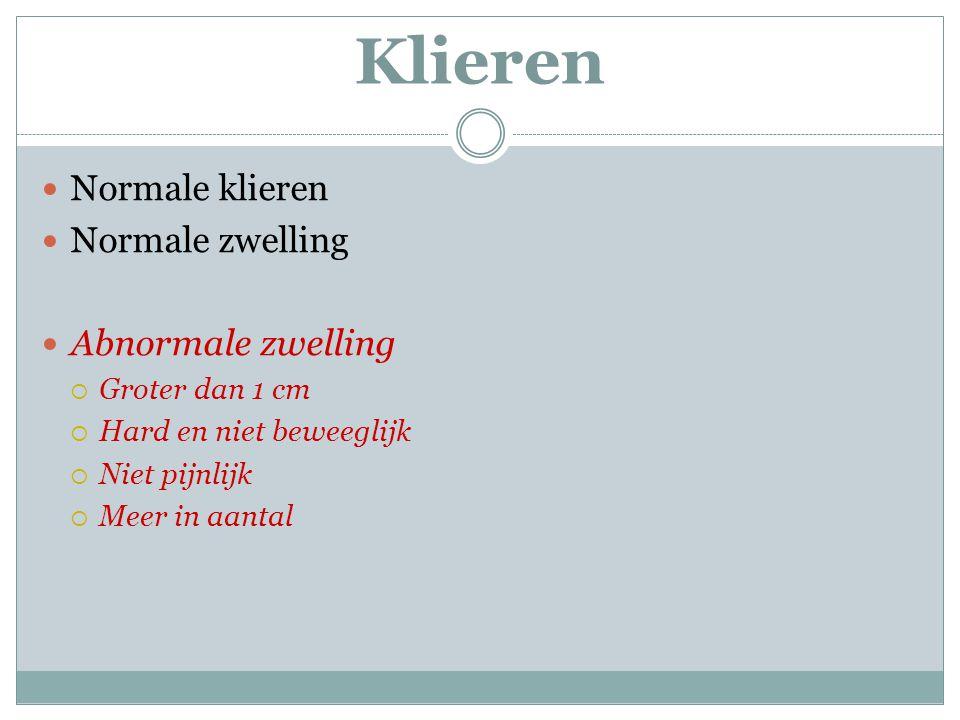Klieren Normale klieren Normale zwelling Abnormale zwelling