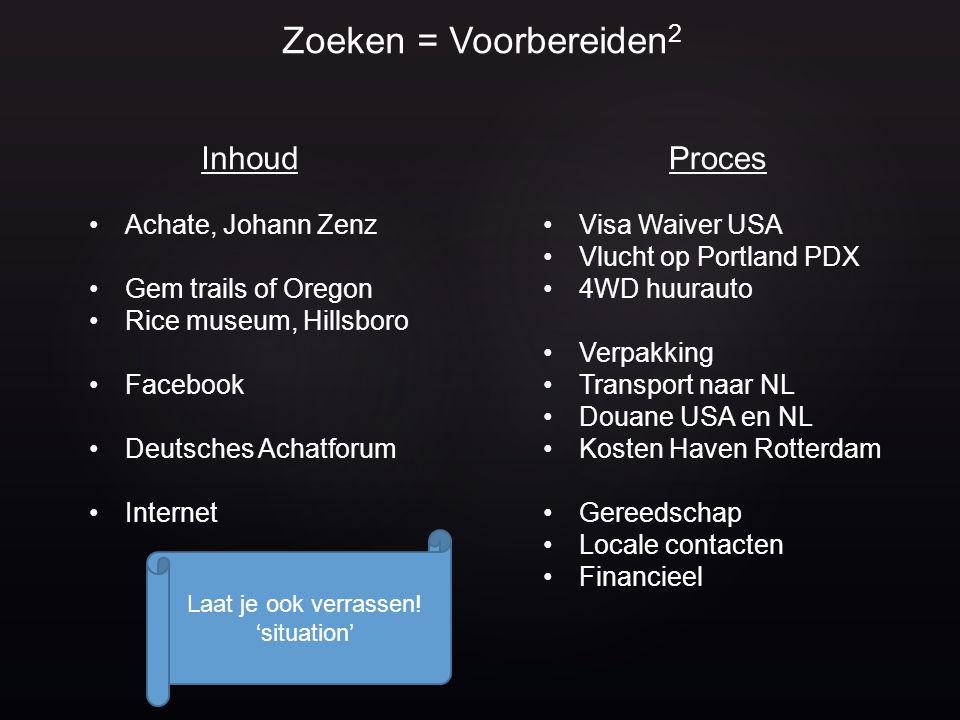 Zoeken = Voorbereiden2 Inhoud Proces Achate, Johann Zenz