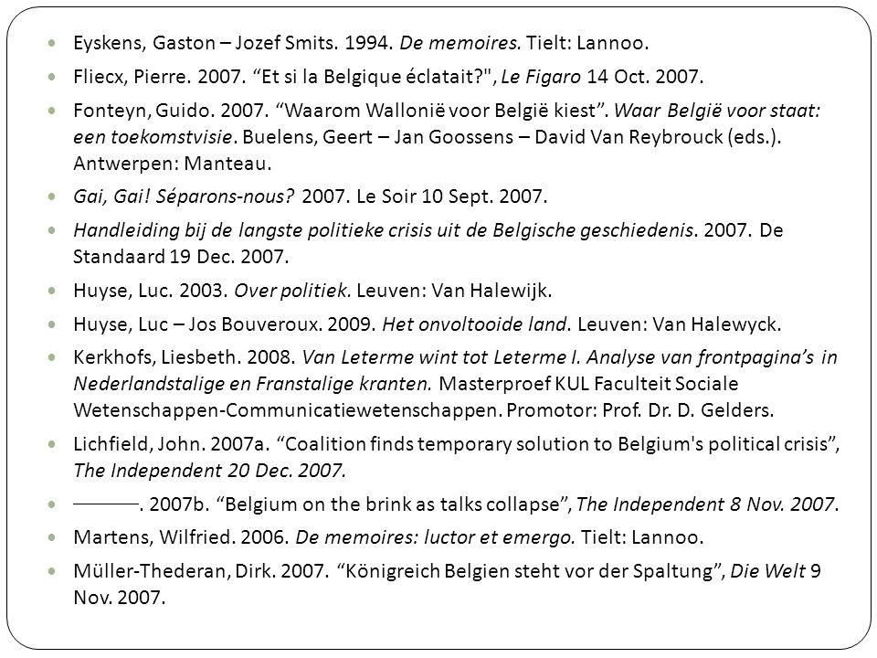 Eyskens, Gaston – Jozef Smits. 1994. De memoires. Tielt: Lannoo.