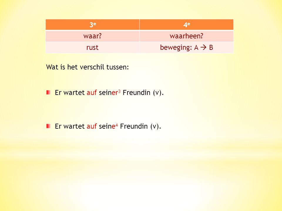 3e 4e. waar waarheen rust. beweging: A  B. Wat is het verschil tussen: Er wartet auf seiner3 Freundin (v).