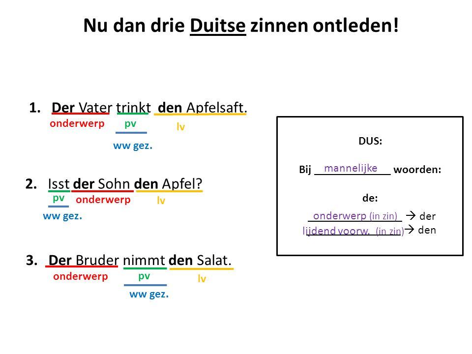Nu dan drie Duitse zinnen ontleden! Bij _____________ woorden: