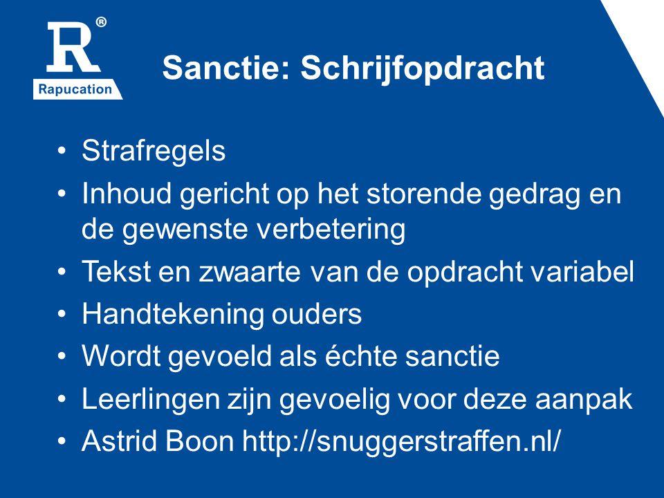 Sanctie: Schrijfopdracht