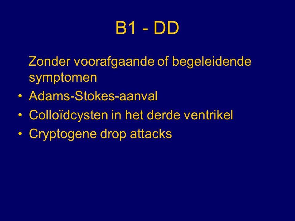 B1 - DD Zonder voorafgaande of begeleidende symptomen
