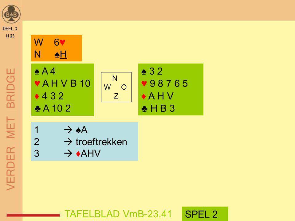 DEEL 3 H 23. W 6♥ N ♠H. ♠ A 4. ♥ A H V B 10. ♦ 4 3 2. ♣ A 10 2. ♠ 3 2. ♥ 9 8 7 6 5. ♦ A H V.