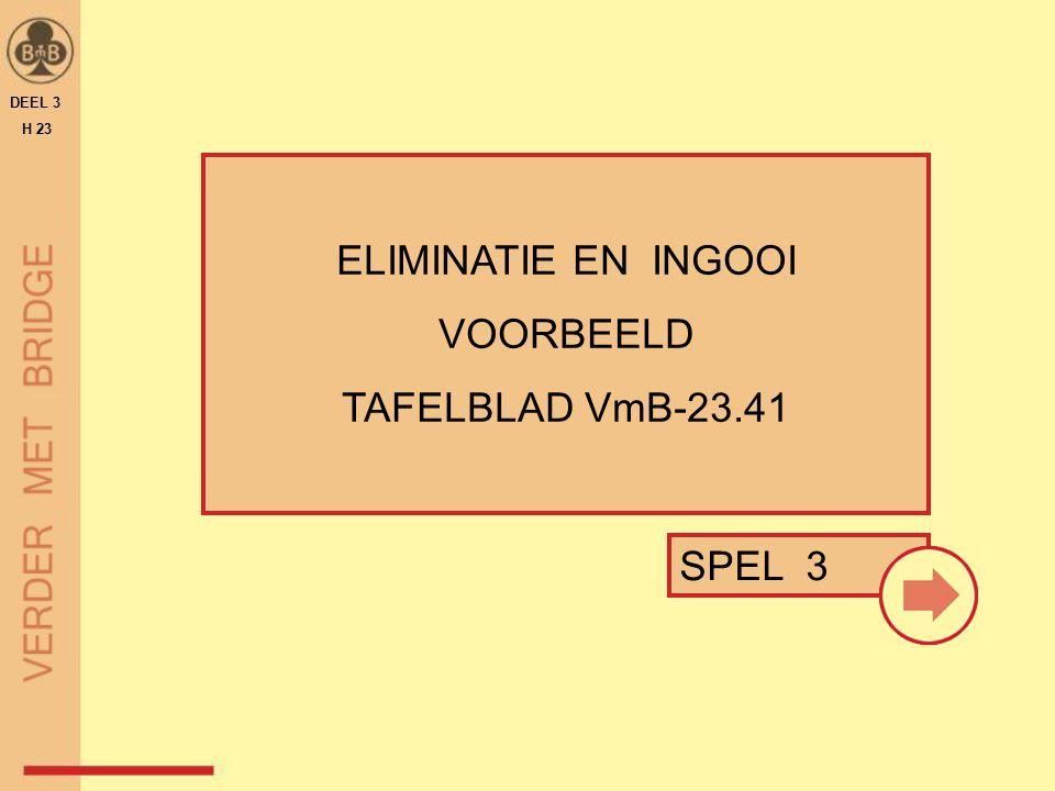 DEEL 3 H 23 ELIMINATIE EN INGOOI VOORBEELD TAFELBLAD VmB-23.41 SPEL 3