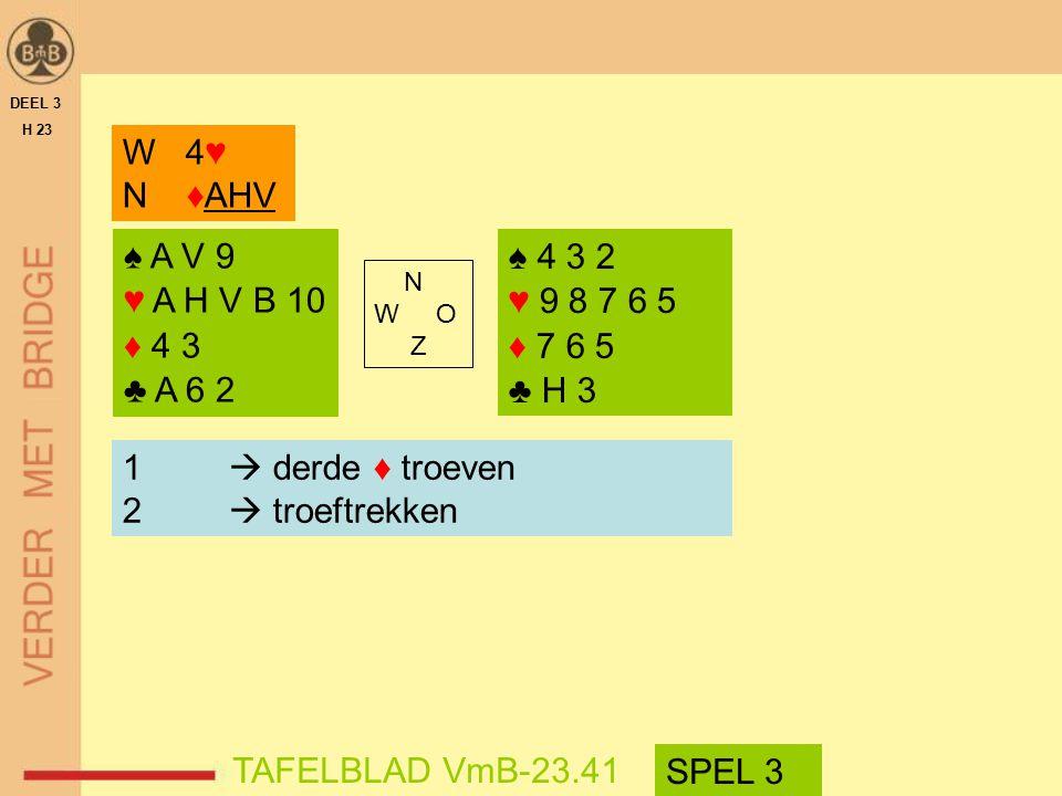 W 4♥ N ♦AHV ♠ A V 9 ♥ A H V B 10 ♦ 4 3 ♣ A 6 2 ♠ 4 3 2 ♥ 9 8 7 6 5