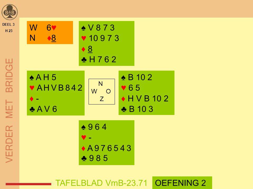 DEEL 3 H 23. W 6♥ N ♦8. ♠ V 8 7 3. ♥ 10 9 7 3. ♦ 8. ♣ H 7 6 2. ♠ A H 5. ♥ A H V B 8 4 2.
