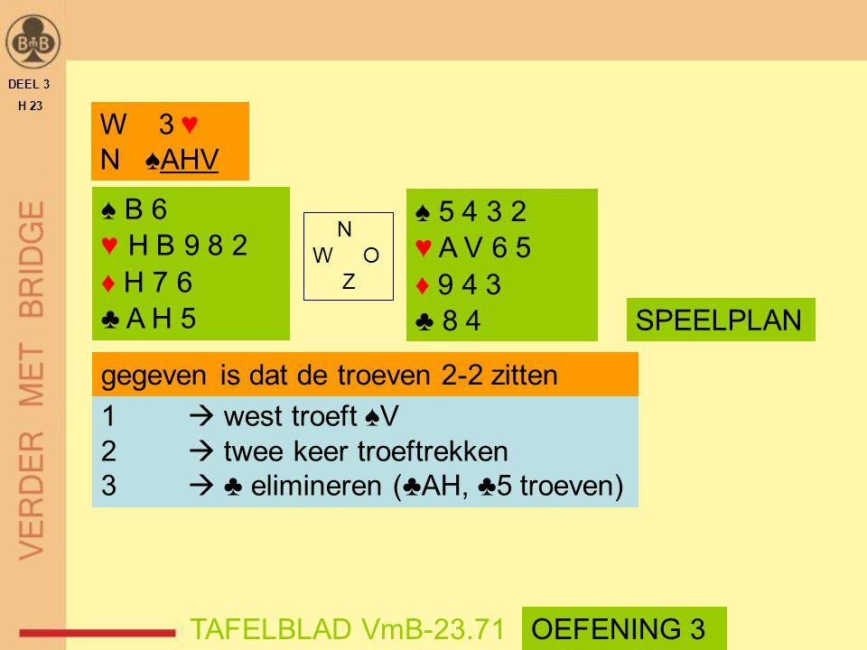 gegeven is dat de troeven 2-2 zitten 1  west troeft ♠V