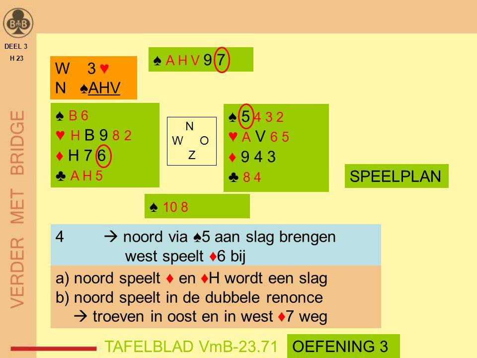 4  noord via ♠5 aan slag brengen west speelt ♦6 bij