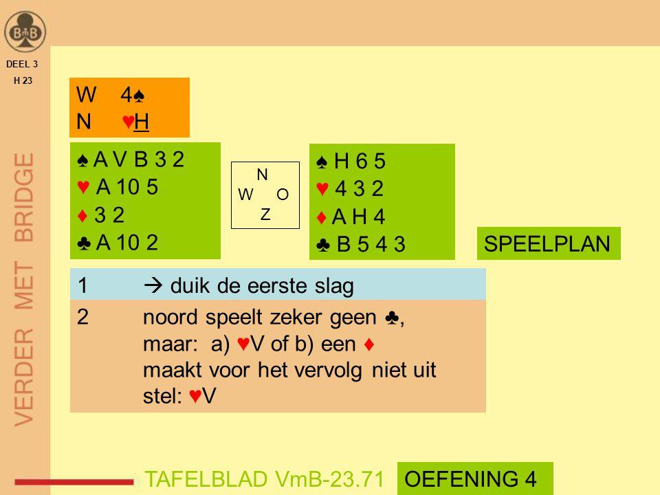 2 noord speelt zeker geen ♣, maar: a) ♥V of b) een ♦