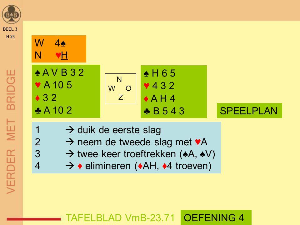 2  neem de tweede slag met ♥A 3  twee keer troeftrekken (♠A, ♠V)