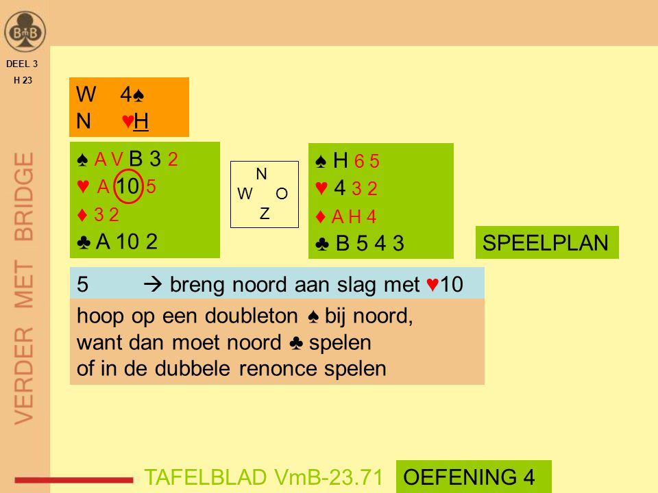 5  breng noord aan slag met ♥10 hoop op een doubleton ♠ bij noord,