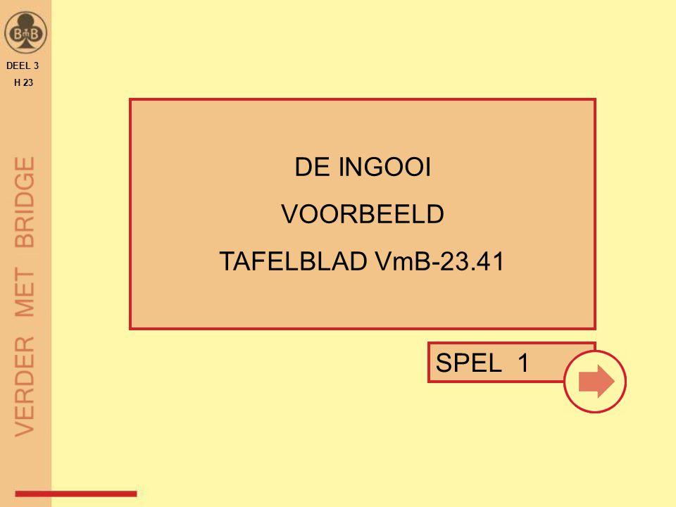 DEEL 3 H 23 DE INGOOI VOORBEELD TAFELBLAD VmB-23.41 SPEL 1