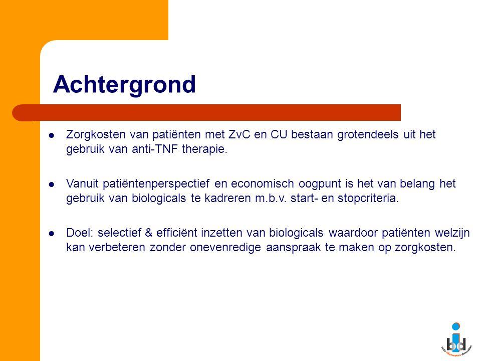 Achtergrond Zorgkosten van patiënten met ZvC en CU bestaan grotendeels uit het gebruik van anti-TNF therapie.