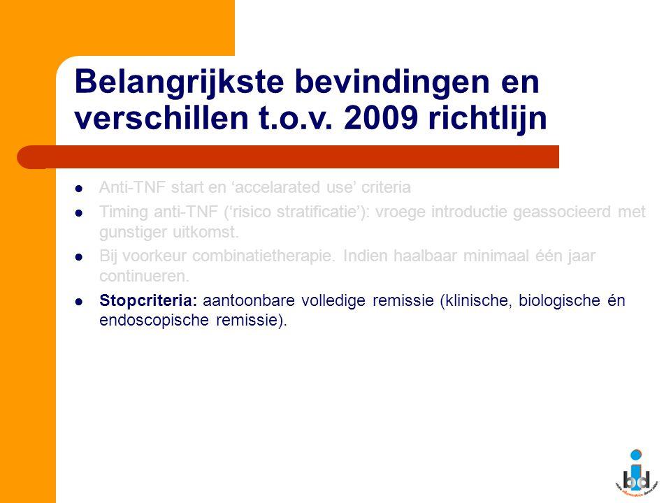 Belangrijkste bevindingen en verschillen t.o.v. 2009 richtlijn