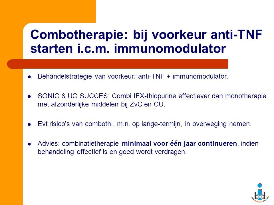 Combotherapie: bij voorkeur anti-TNF starten i.c.m. immunomodulator