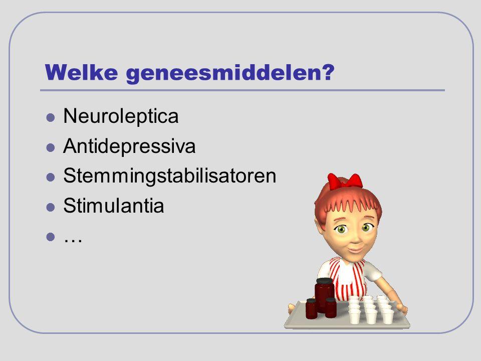 Welke geneesmiddelen Neuroleptica Antidepressiva