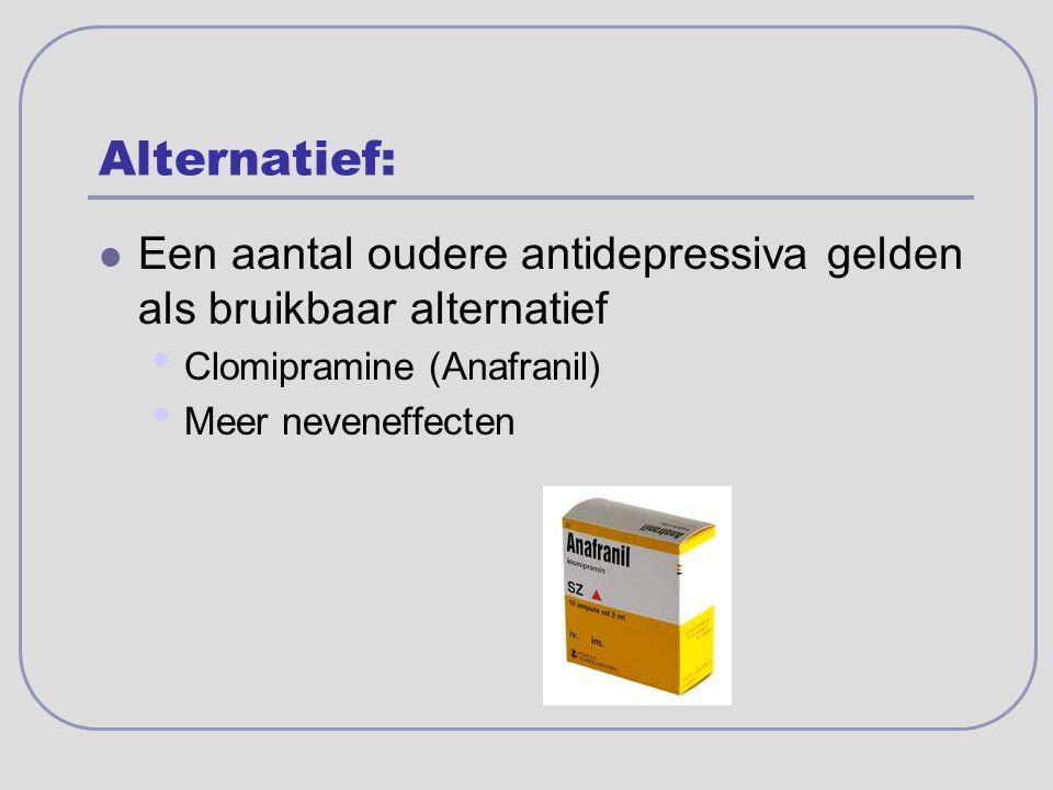 Alternatief: Een aantal oudere antidepressiva gelden als bruikbaar alternatief. Clomipramine (Anafranil)