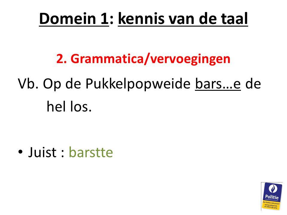 Domein 1: kennis van de taal 2. Grammatica/vervoegingen