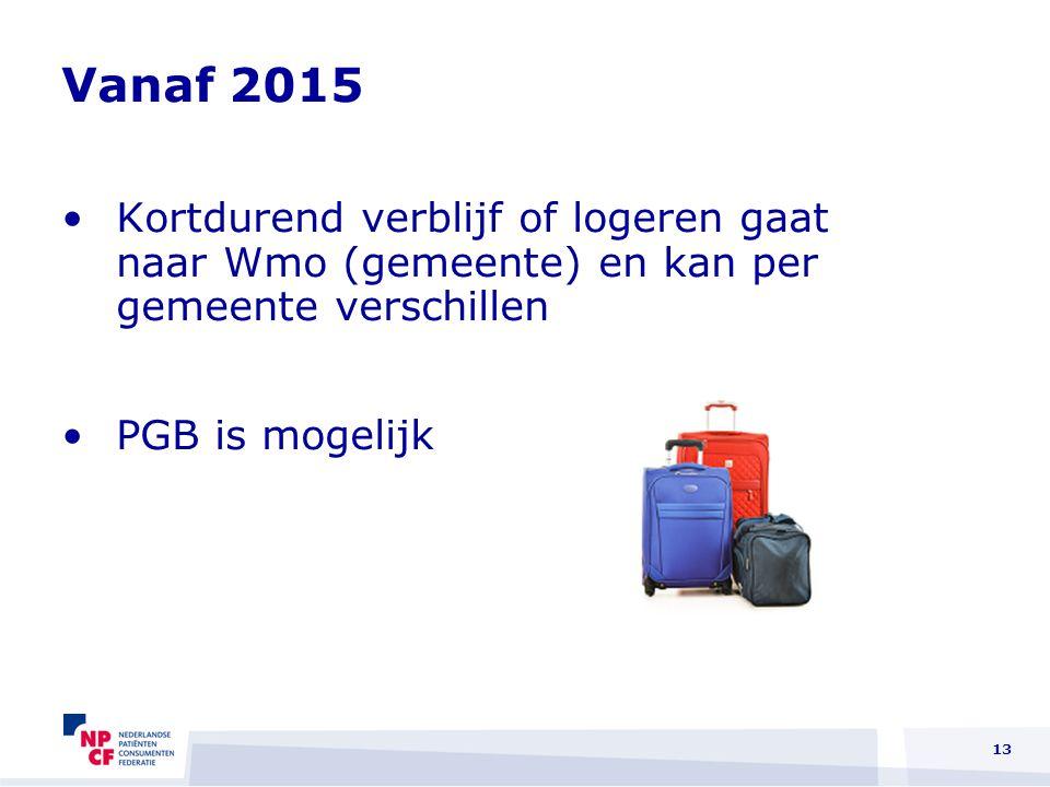 Vanaf 2015 Kortdurend verblijf of logeren gaat naar Wmo (gemeente) en kan per gemeente verschillen.