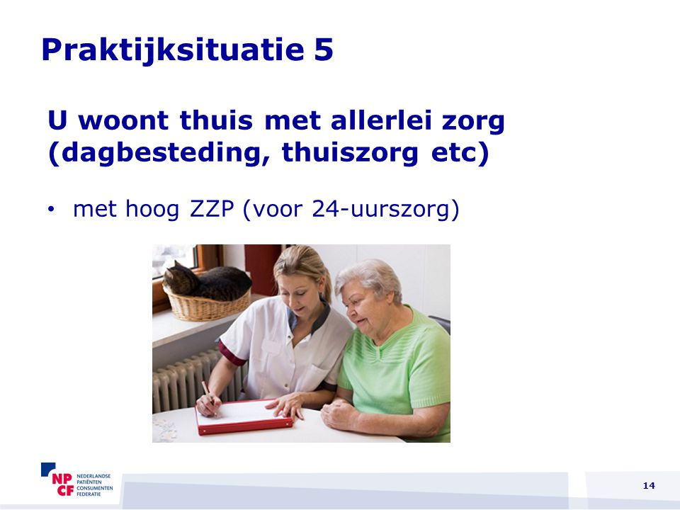 Praktijksituatie 5 U woont thuis met allerlei zorg (dagbesteding, thuiszorg etc) met hoog ZZP (voor 24-uurszorg)