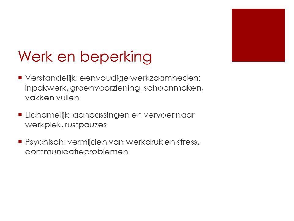 Werk en beperking Verstandelijk: eenvoudige werkzaamheden: inpakwerk, groenvoorziening, schoonmaken, vakken vullen.