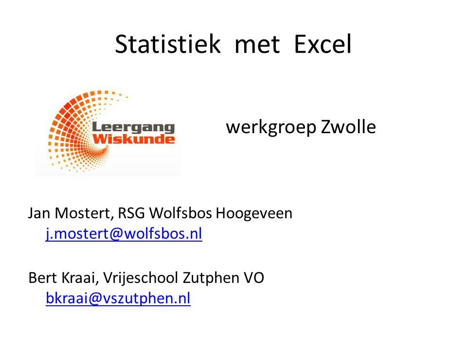 Statistiek met Excel werkgroep Zwolle