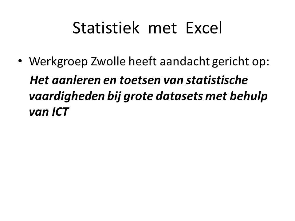 Statistiek met Excel Werkgroep Zwolle heeft aandacht gericht op:
