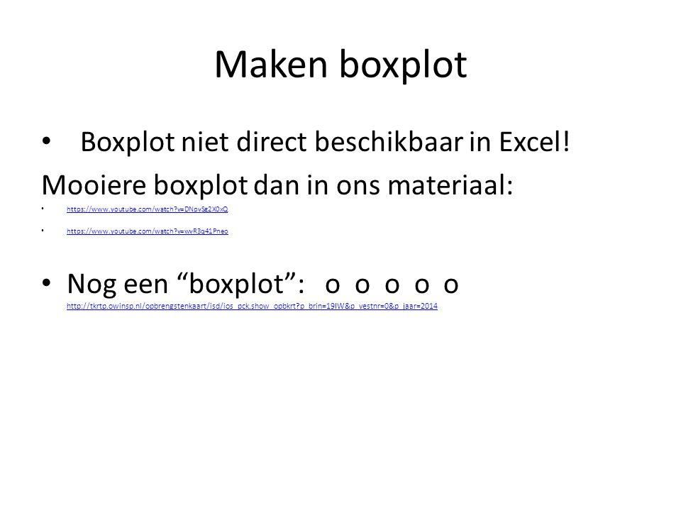 Maken boxplot Boxplot niet direct beschikbaar in Excel!