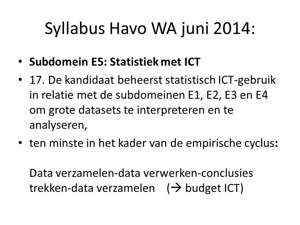 Syllabus Havo WA juni 2014: Subdomein E5: Statistiek met ICT