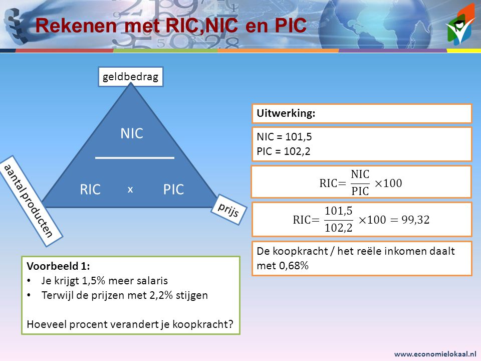 Rekenen met RIC,NIC en PIC