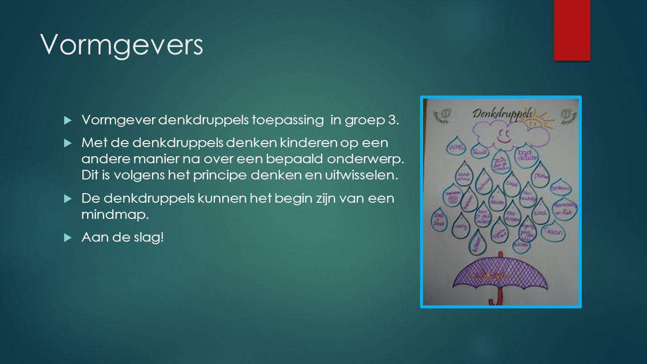 Vormgevers Vormgever denkdruppels toepassing in groep 3.