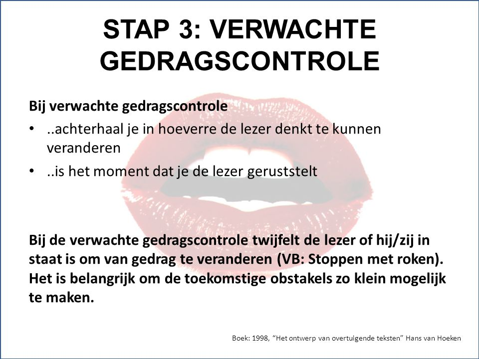 STAP 3: VERWACHTE GEDRAGSCONTROLE