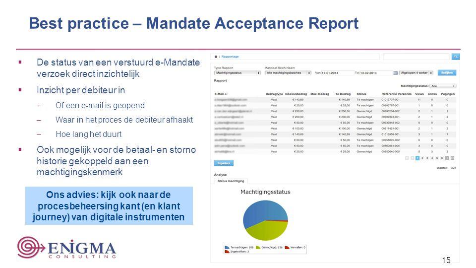 Best practice – Mandate Acceptance Report