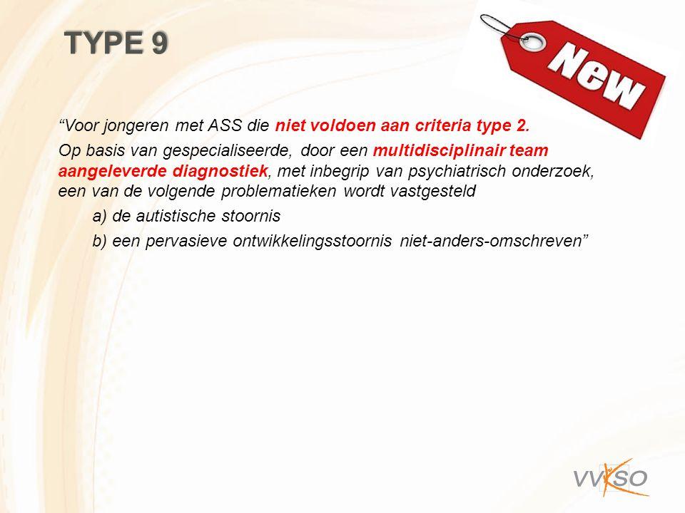 Type 9 Voor jongeren met ASS die niet voldoen aan criteria type 2.