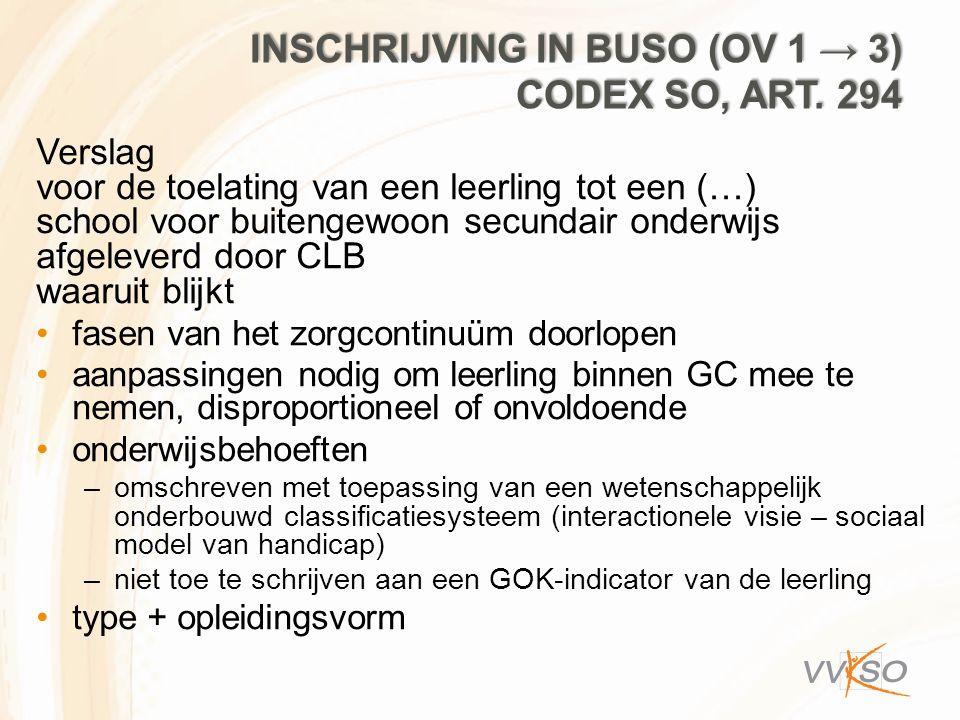 Inschrijving in Buso (Ov 1 → 3) codex SO, art. 294