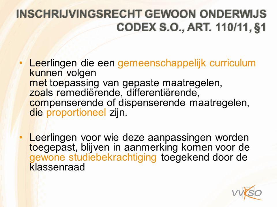 Inschrijvingsrecht GEWOON ONDERWIJS codex S.O., art. 110/11, §1